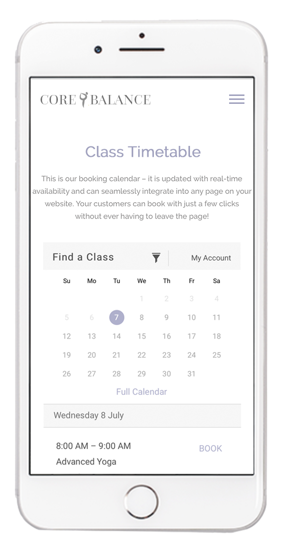 Core Balance - Class Timetable - Mobile